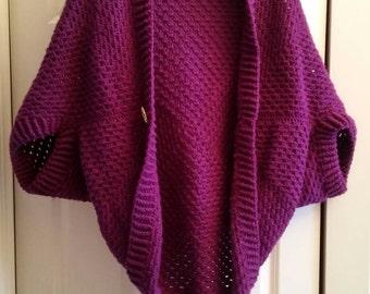 Granny square shrug. Crochet. Vibrant plum/purple.  Medium to large size