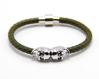 Skull Bracelet Silver / Khaki Nappa Leather
