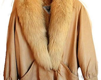 Gorgeous Natural Leather Coat with Genuine Fox Fur Collar, 1980s fabulous