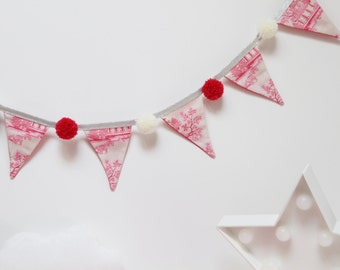 Garland pennants PomPoms fushia pink and beige