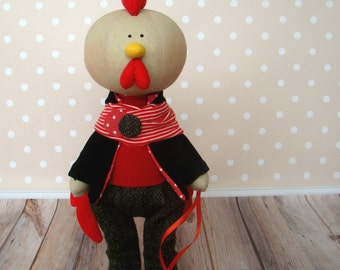 Year of the Rooster-Christmas Gift-Christmas Present-Handmade doll-Textile Doll-Fabric Doll-Rag Doll-Handmade toy-tilda