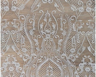 Very soft and beautiful ornament lace with net elements - Wedding dress lace, bridal lace fabric, net lace design - off-white - (CLFA3192)