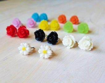 Rose stud earrings, Daisy stud earrings, flower earrings, flower stud earrings