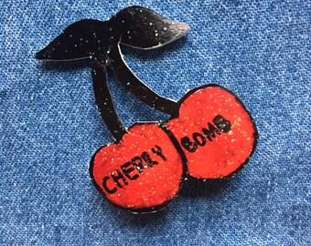 Glitter Cherry Bomb Pin