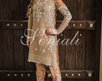 custom made hand crafted Soniali 2 piece formal wedding dress