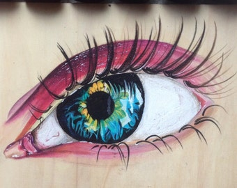 Eye on Wooden Panel Painting (Acrylic)