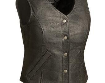 565 Ladies Leather Vest - Gun Pocket - Plain Side