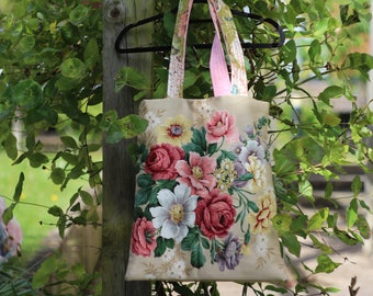 Flower Tote Bag,, Market Bag. Shopping Bag. Book Bag.Canvas Shopping Bag