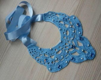 Handmade Crocheted Collar, Neck Accessory, Blue Collar, Blue Necklace, Cotton, Viscose