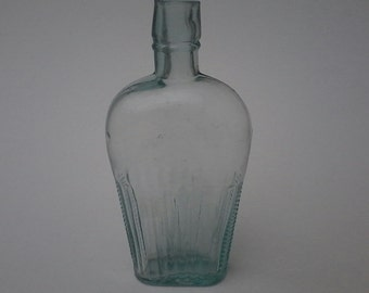 Antique American Blue Aqua Glass Bottle Whiskey Flask 1880