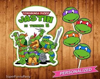 Teenage Mutant Ninja Turtles Centerpiece, TMNT Birthday Centerpiece, TMNT Printable, Personalized, Digital File