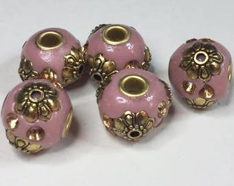 5 PINK & GOLD INDONESIA Beads