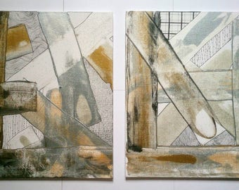 Abstract Acrylic Painting Original Set of Two Gold Silver Black Metallic on Canvas 10'' x 12'' Textured Wall Art Gift Set / Freehand Pattern