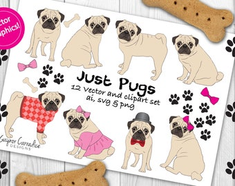 Pugs clipart set, pugs vector set, pugs illustration set, dogs clipart set, dogs vector set in ai, svg and png