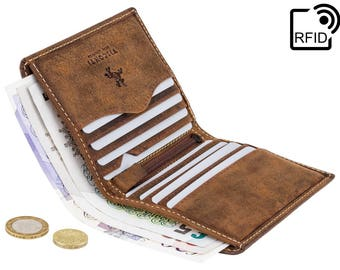 VISCONTI Leather Wallet - Oil TAN - Hunters Collection - Card Case - 705 - Bi-Fold - RFID Wallet - Small Wallet - Man wallet - Card Holder