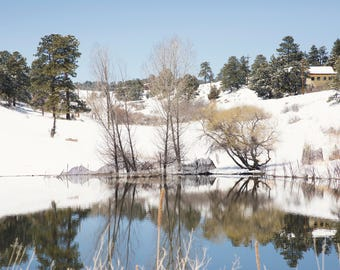 Foot hills Snowy Pond with a Reflection Digital Background/Digital Backdrop/Overlay
