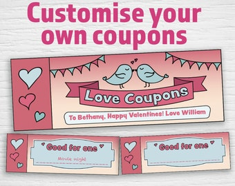 Printable Love Coupons (editable PDF) Instant download