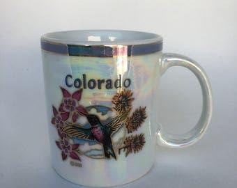 Pretty, Iridescent Souvenir Mug - Kitschy Kitchen - Colorado - Hummingbird -