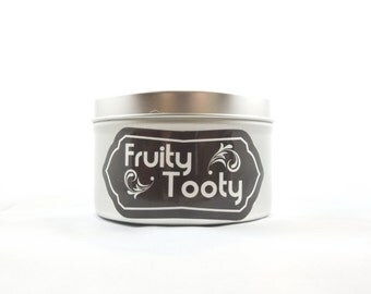 Citrus, Pineapple, Peach, Berries Scented 8oz Soy Aromatherapy Candle: Fruity Tooty. Novelty Candle. Funny Candle.
