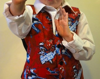 Boys Waistcoat made with Spiderman fabric; matching Bowtie available.