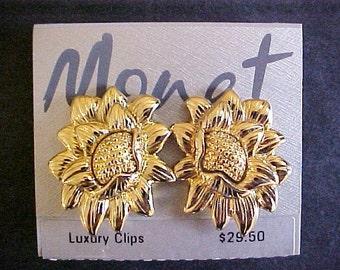 Vintage Monet Sunflower Earrings clips gold plate