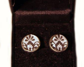 earrings cabochons black and white / Ohrringe