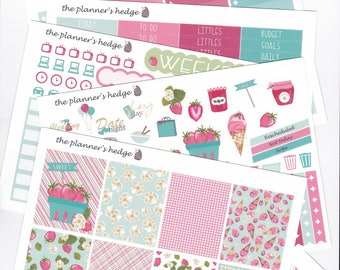Strawberry Jam Full Weekly Kit, planner stickers
