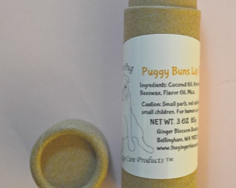 Puggy Buns Pouty Pug Lip Balm, lip care, natural, moisturize, chapstick, lips, cinnamon buns, dessert, delicious, pugs, beauty, gift for her