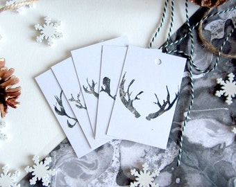Gift Wrapping Christmas Tags, Reindeer Antler Illustrated Gift Tags