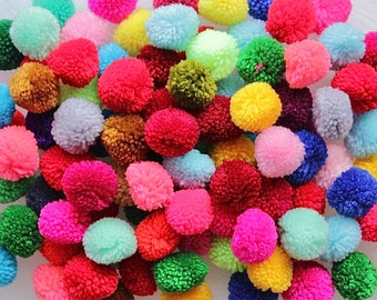 1 inch 100 pcs Yarn Pom Pom Colorful Mixed Bright Colors Multi color