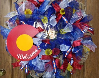 Colorado Wreath with Handmade Sign