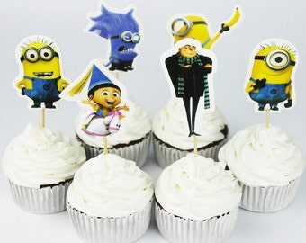 24 piece Minions cupcake toppers and picks Minions party decoration