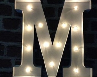 LED Carnival Circus Light Up Alphabet Letter M - All Metal Large 33 cm Wall or Free Standing