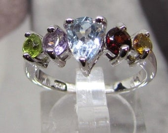 Enriched with Multi gemstones silver ring