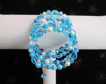 Shades of Aqua Blue Memory Wire Bracelet
