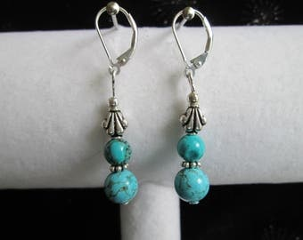 Bali Style Sterling Silver and Turquoise Gemstone Earrings Pair 1