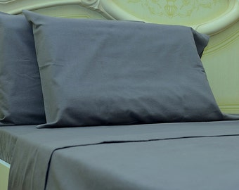 Goza Cotton 190 Gram Heavyweight Flannel Sheet Set Queen - Grey