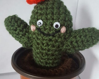 Potted Cactus- Amigurumi knitted- hand made