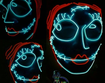 Sally - Light Up EL-Wire Tribute Mask! Stand Out, Turn Heads. The ultimate cosplay mask! Festivals,  Raves, Halloween & More!