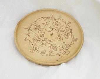 SALE! Pyrographed Offering Plate - Pagan - witchcraft - wicca - offerings - handmade - altar - solstice - Equinox - decorative - gift
