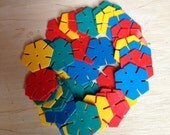 Vintage Plastic Octons  Playplax Style Toy  Plastic Hexagons  Childrens Building Toy  Retro Toy  Interlocking Hexagon Shapes