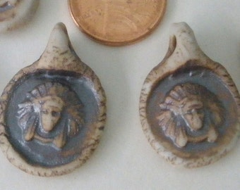 Indian Chief Ceramic Pendants /Southwest / Boho/ Kiln Fired/ Handcrafted in America CPE103