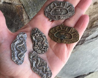 Cave Art Pewter Pendant/ Petroglyphs Pendant/ Primitive Art Pendant/ Pewter Necklace Pendant HN123