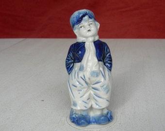 """Vintage authentic 'DELFTSE BLAUW Figurine""""XIX th salt shaker"""