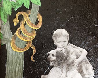 A girl and her dog, movie dog, dog art, collage, painting, miced media, found paper, paper art, cut and paste, canvas, snakes, animal art