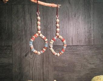 Gemstone Earrings, Southwest Earrings, Boho Earrings, Handmade Earrings, Tribal Earrings, Rustic Earrings, African Earrings, Native American
