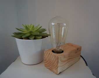 "Tough industrial table lamp Wood Douglas ""+ free carbon filament lamp (industrial table lamp-filament lamp)"