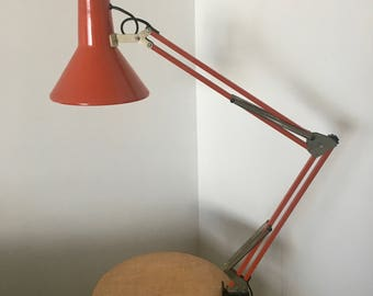 Vintage coral red architect lamp 1970