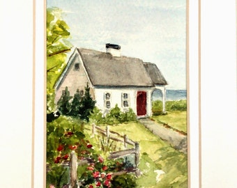 Cape Cod Painting, Original Watercolor Painting, Cape Cod, Original Painting, Landscape, House on Cape Cod, 4x6, Chatham, Watercolor Art