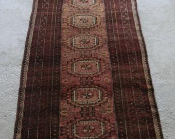 3'2''x8'6'' Persian Runner Rug, Boho Runner, Turkmens of Persia, Baluchi Rug